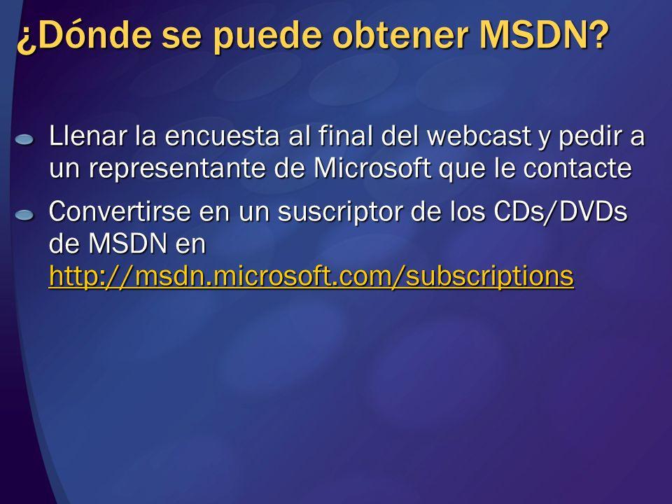 ¿Dónde se puede obtener MSDN