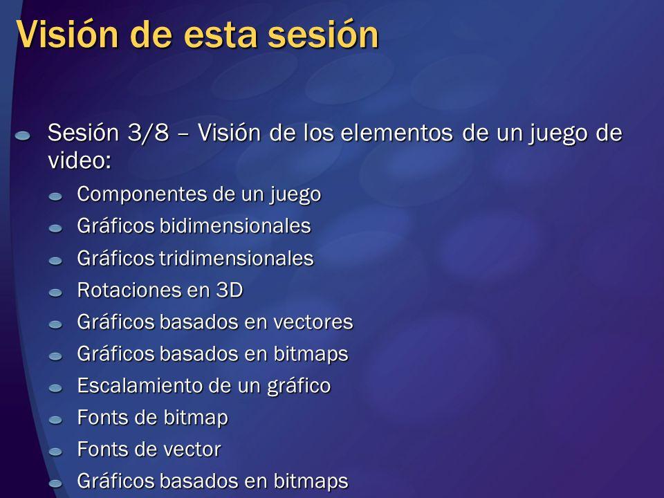 Visión de esta sesión Sesión 3/8 – Visión de los elementos de un juego de video: Componentes de un juego.