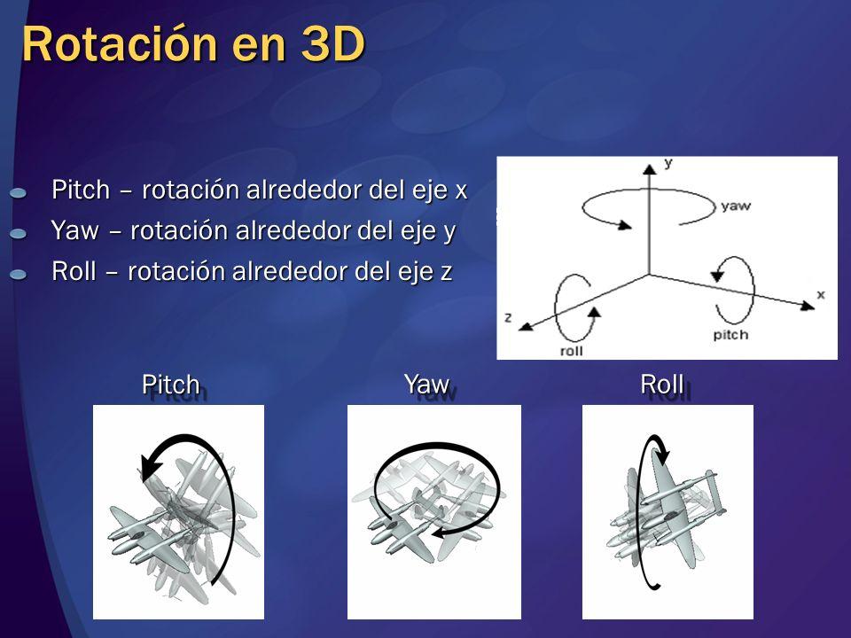Rotación en 3D Pitch – rotación alrededor del eje x