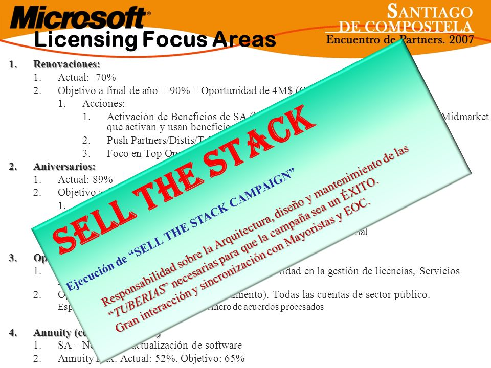 Sell The Stack Licensing Focus Areas
