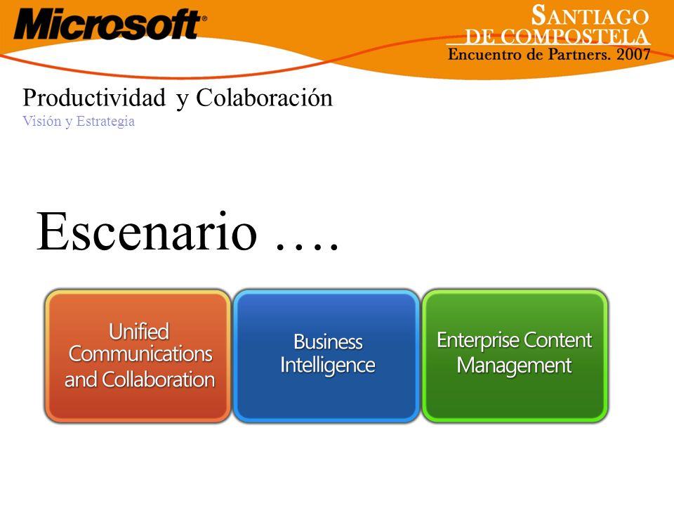 Escenario …. Productividad y Colaboración Visión y Estrategia