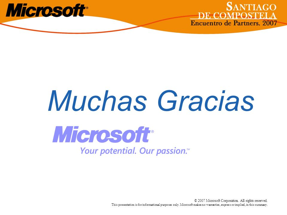 3/24/2017 3:58 PMMuchas Gracias. © 2007 Microsoft Corporation. All rights reserved.