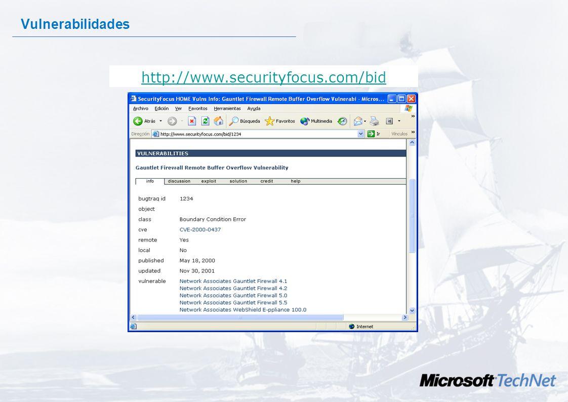http://www.securityfocus.com/bid Vulnerabilidades Es difícil engañar