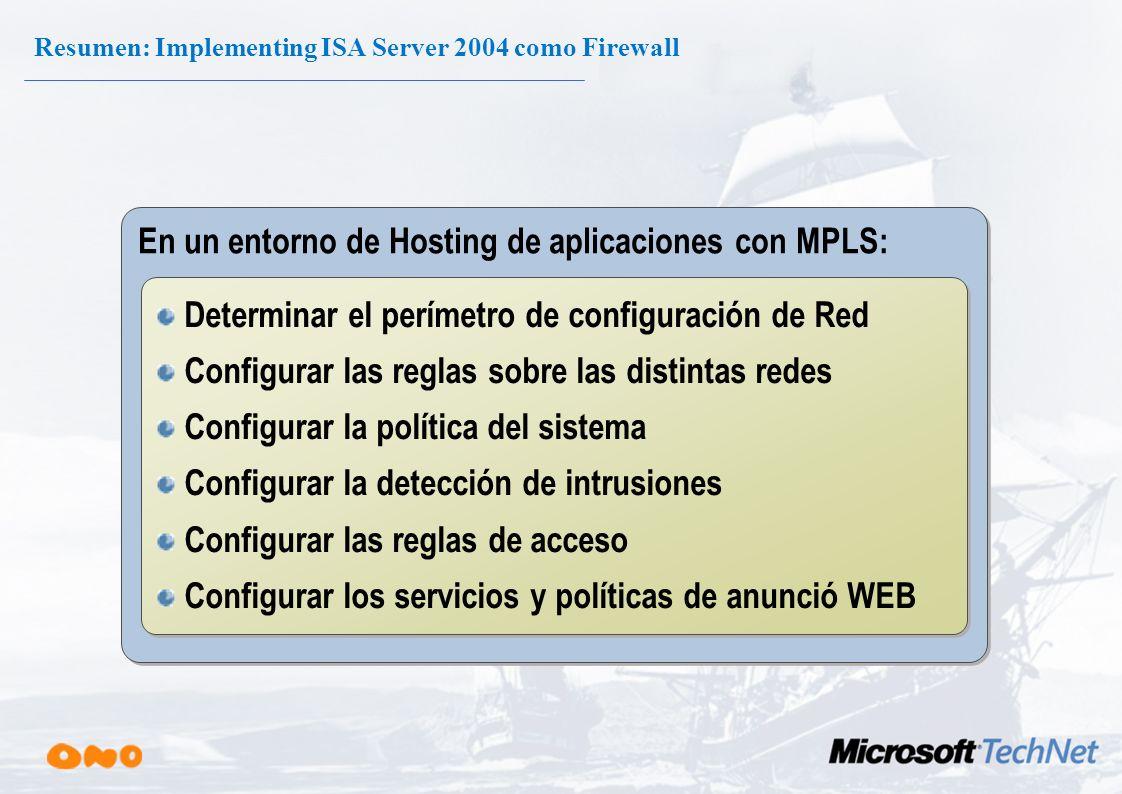 Resumen: Implementing ISA Server 2004 como Firewall