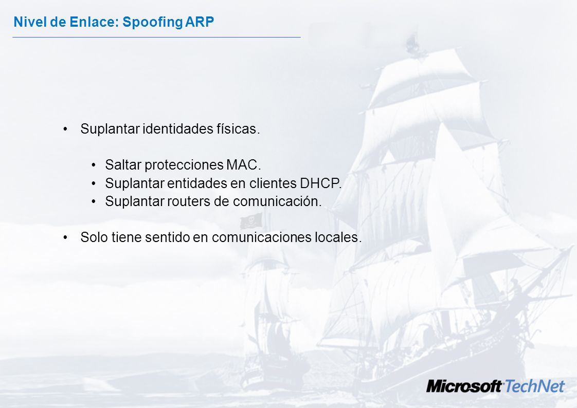Nivel de Enlace: Spoofing ARP