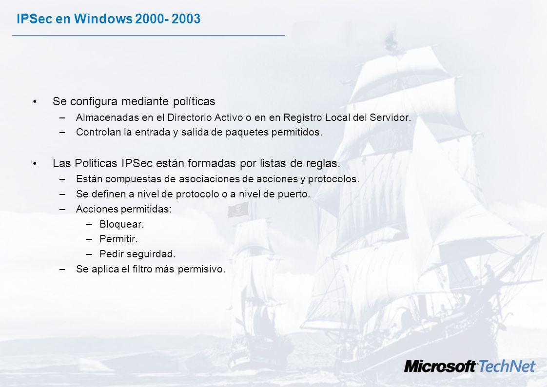 IPSec en Windows 2000- 2003 Se configura mediante políticas