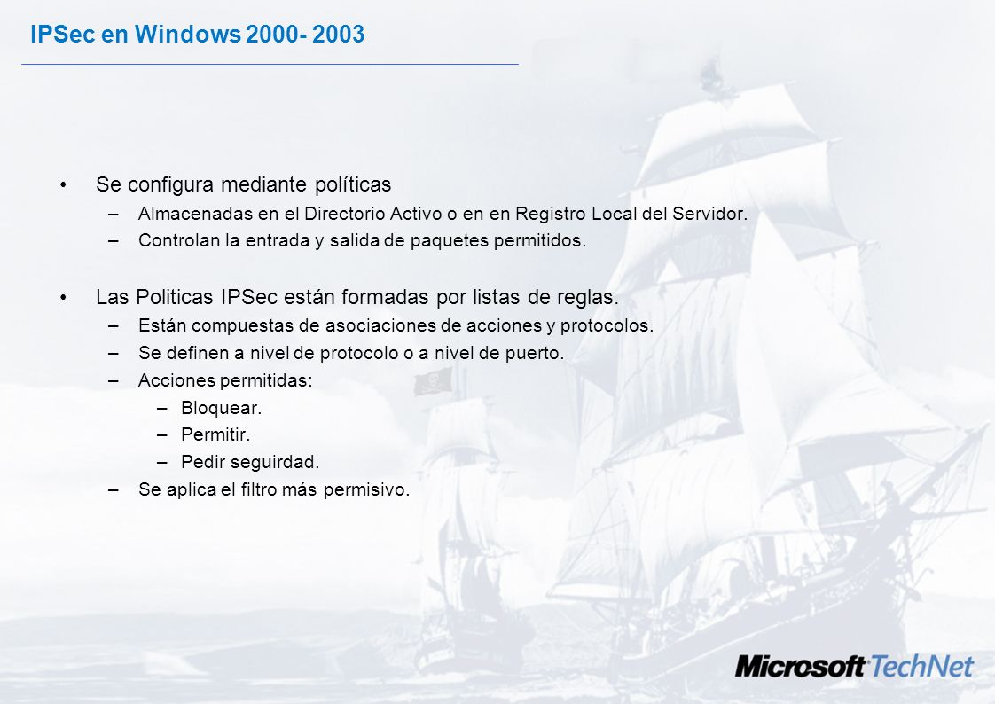 IPSec en Windows Se configura mediante políticas