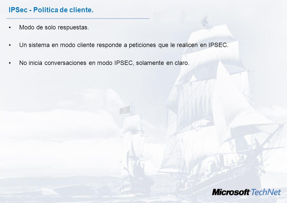 IPSec - Política de cliente.