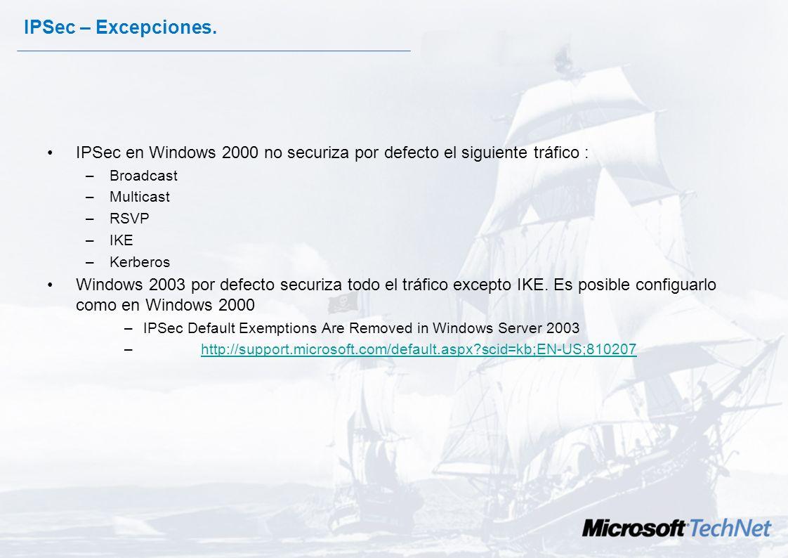 IPSec – Excepciones. IPSec en Windows 2000 no securiza por defecto el siguiente tráfico : Broadcast.
