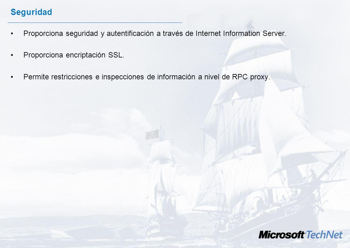 Seguridad Proporciona seguridad y autentificación a través de Internet Information Server. Proporciona encriptación SSL.