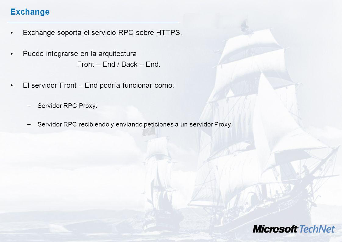 Exchange Exchange soporta el servicio RPC sobre HTTPS.