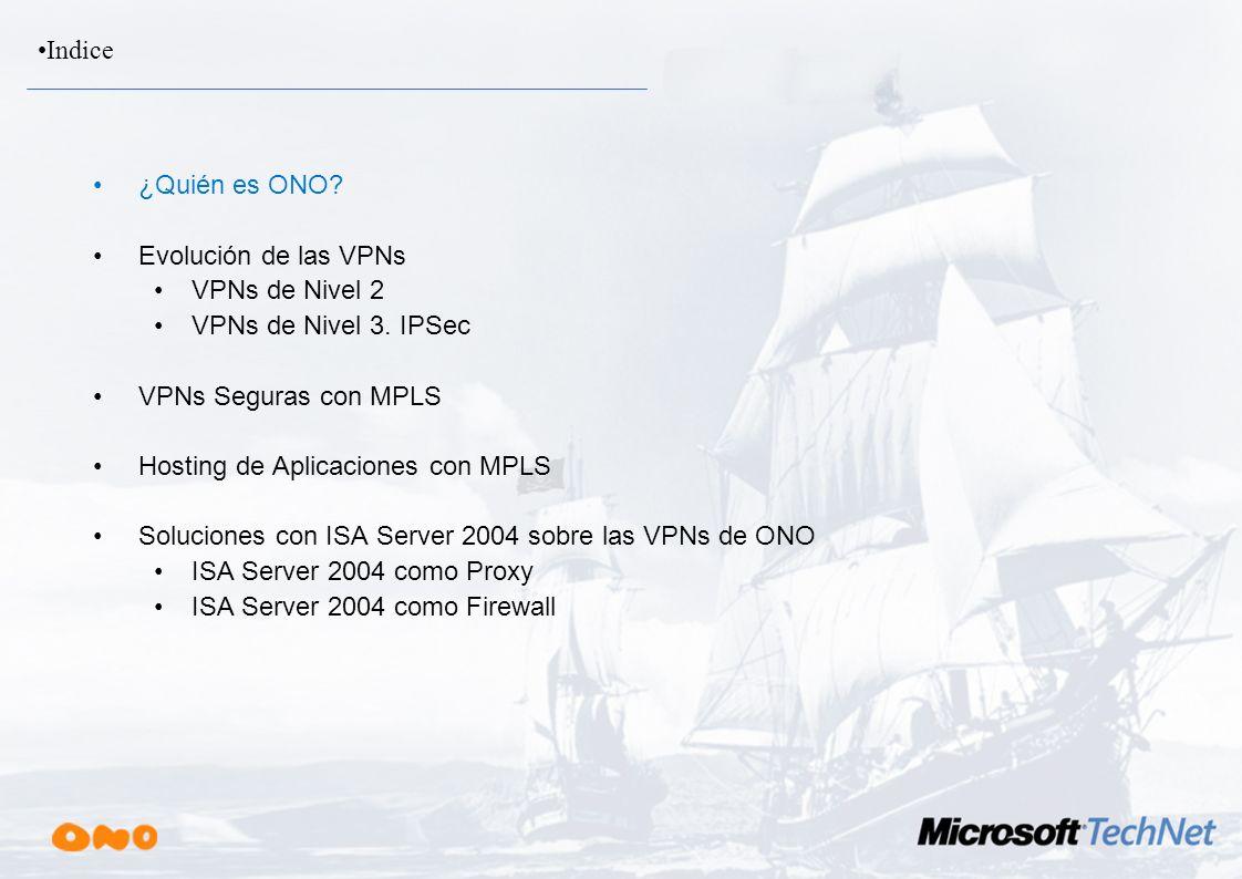 Indice ¿Quién es ONO Evolución de las VPNs. VPNs de Nivel 2. VPNs de Nivel 3. IPSec. VPNs Seguras con MPLS.