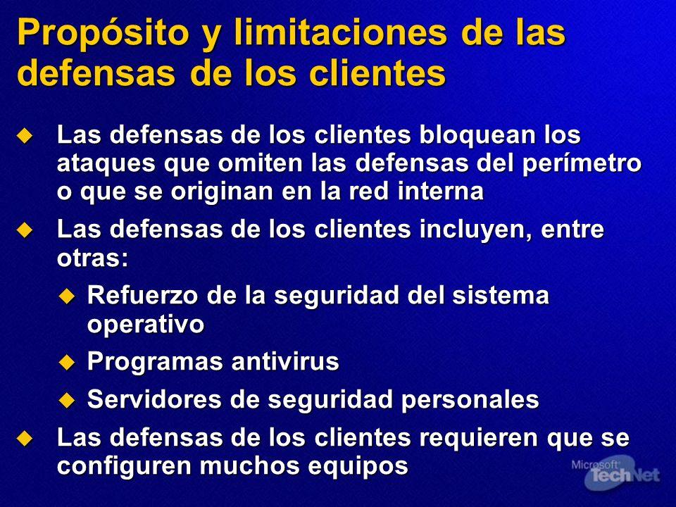 Propósito y limitaciones de las defensas de los clientes