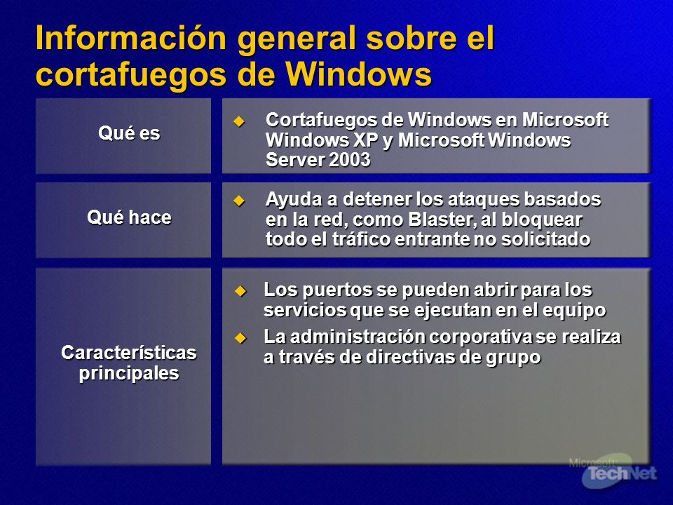 Información general sobre el cortafuegos de Windows