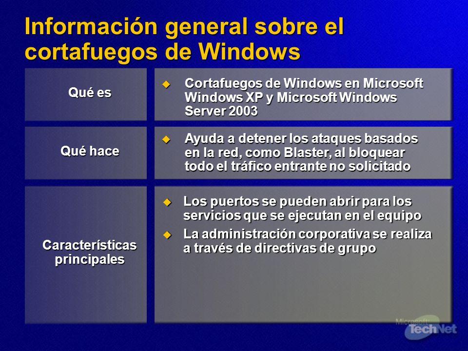 Información general sobre el cortafuegos de Windows
