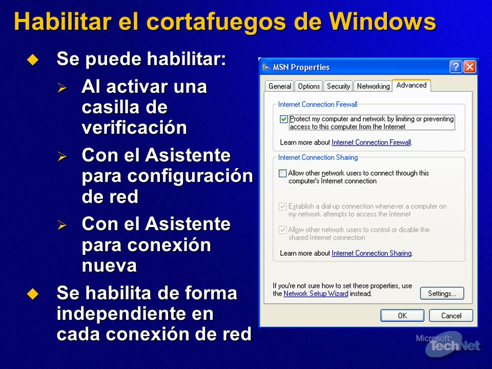Habilitar el cortafuegos de Windows