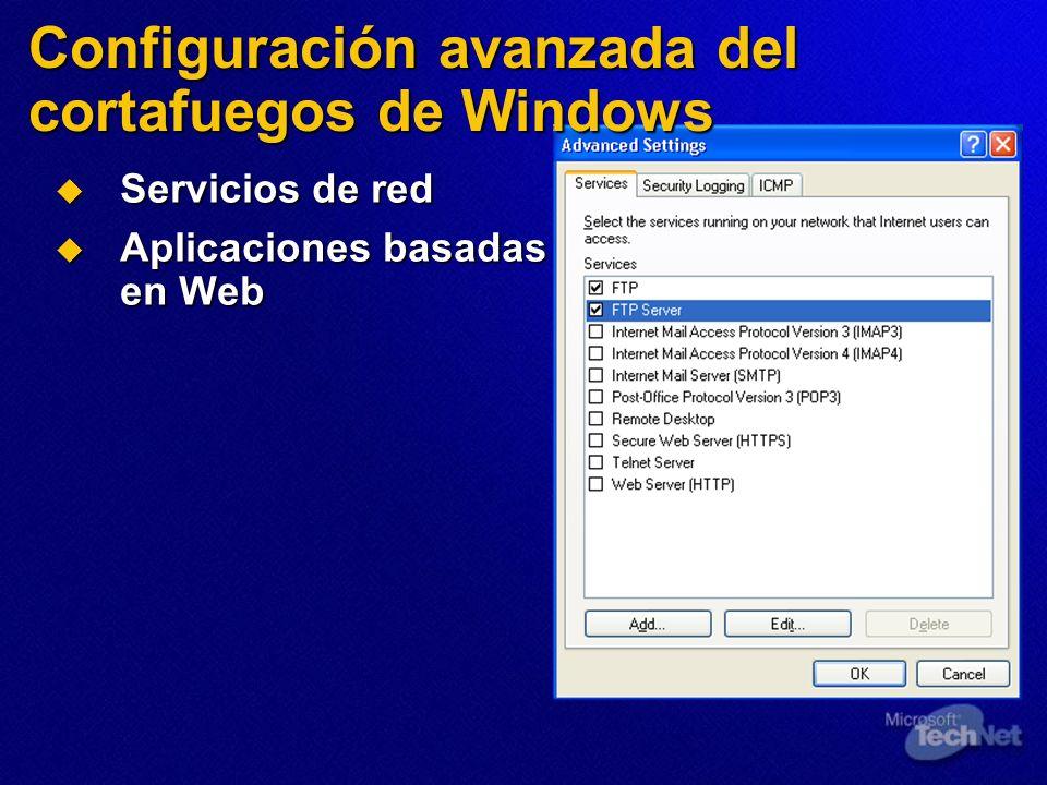 Configuración avanzada del cortafuegos de Windows