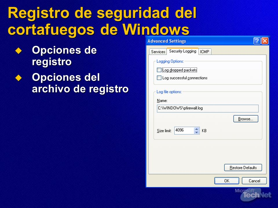 Registro de seguridad del cortafuegos de Windows