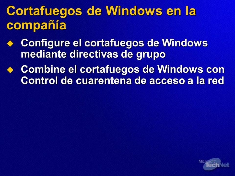 Cortafuegos de Windows en la compañía
