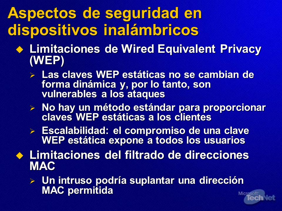Aspectos de seguridad en dispositivos inalámbricos