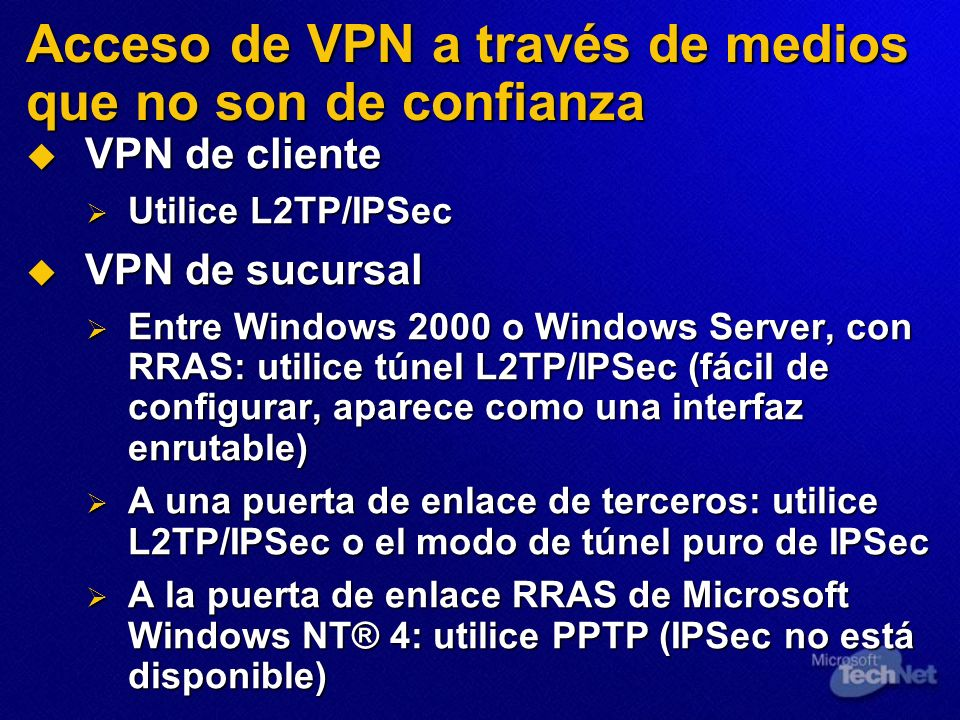 Acceso de VPN a través de medios que no son de confianza