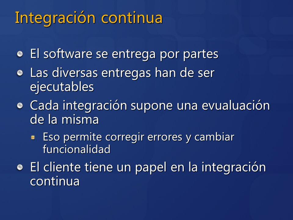 Integración continua El software se entrega por partes