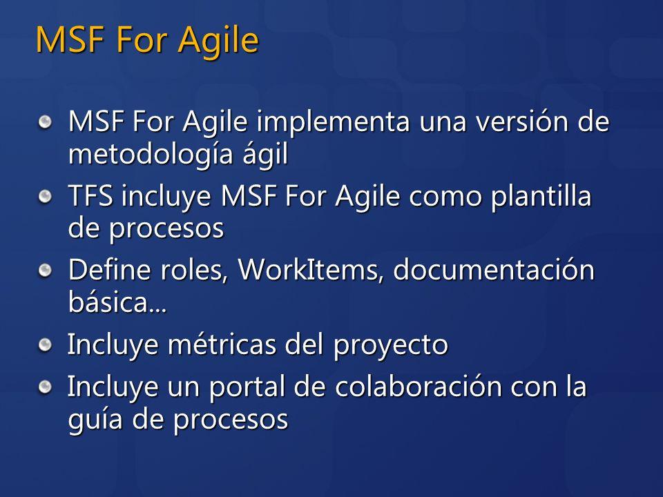 MSF For Agile MSF For Agile implementa una versión de metodología ágil