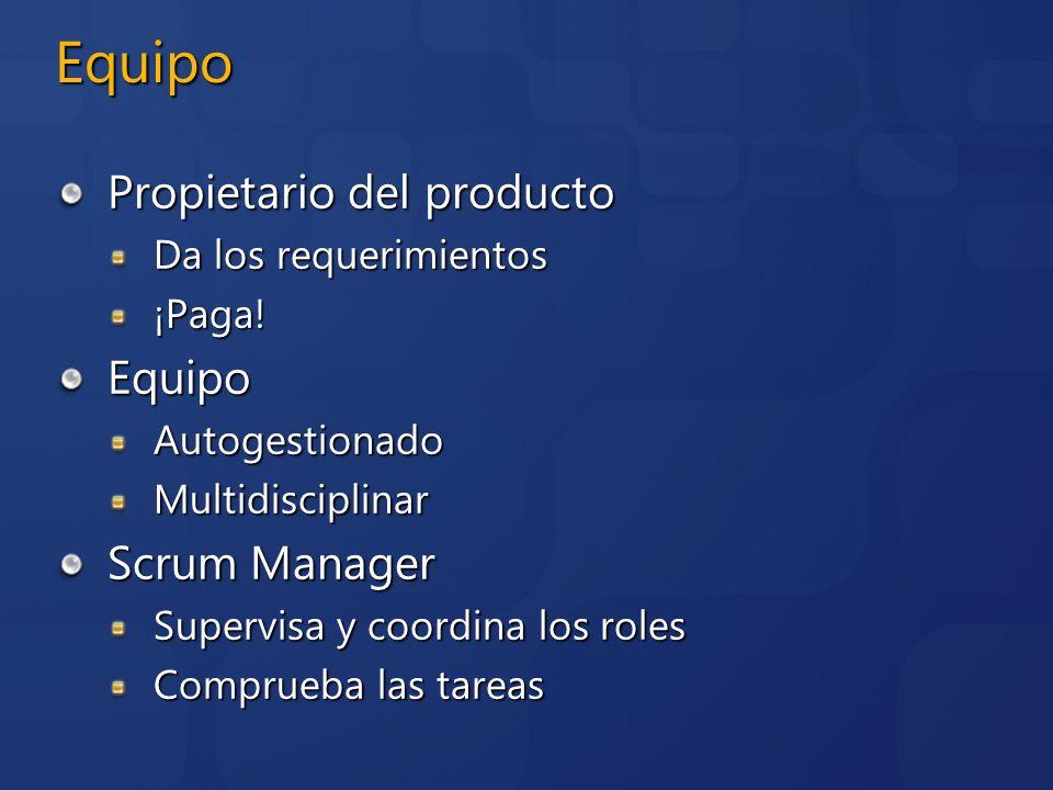 Equipo Propietario del producto Equipo Scrum Manager