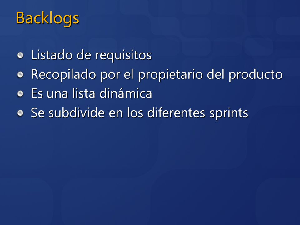 Backlogs Listado de requisitos