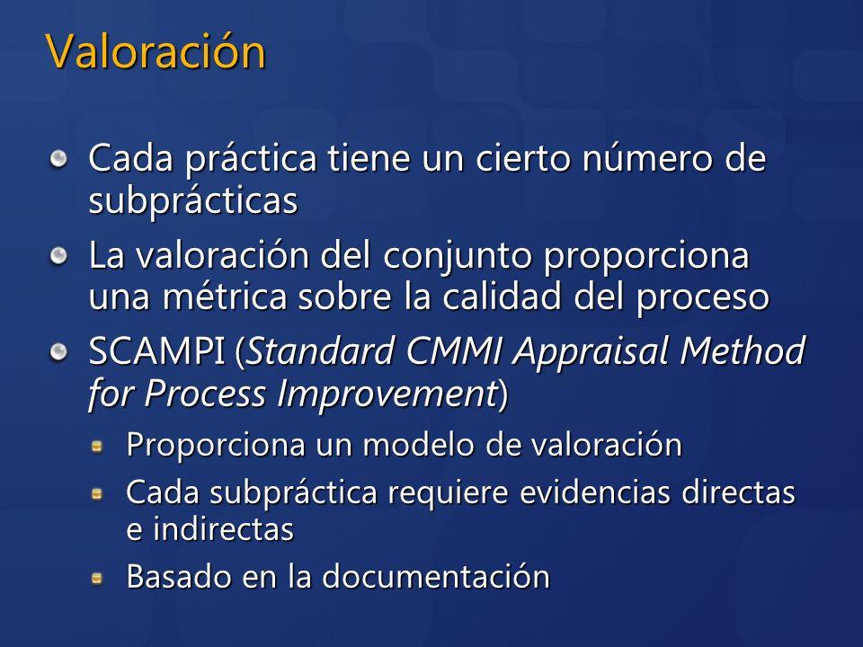 Valoración Cada práctica tiene un cierto número de subprácticas