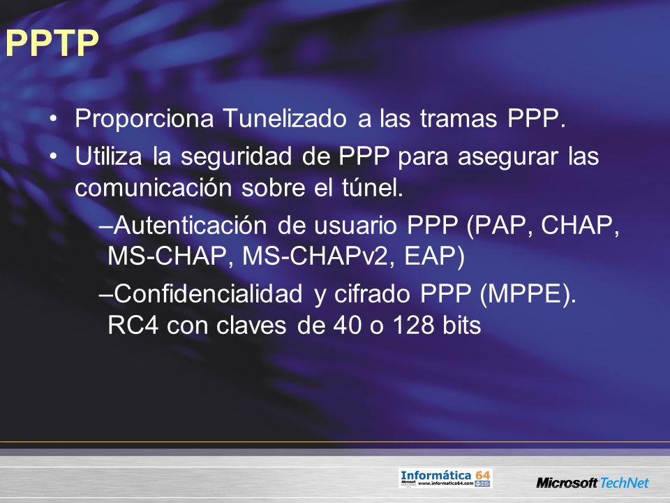 PPTP Proporciona Tunelizado a las tramas PPP.