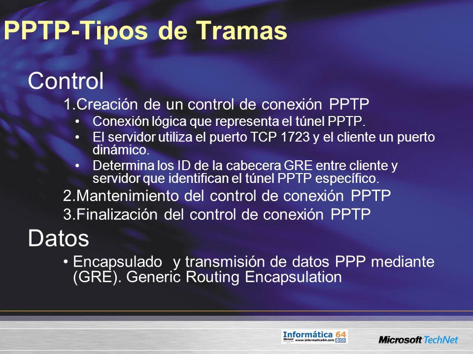 PPTP-Tipos de Tramas Control Datos