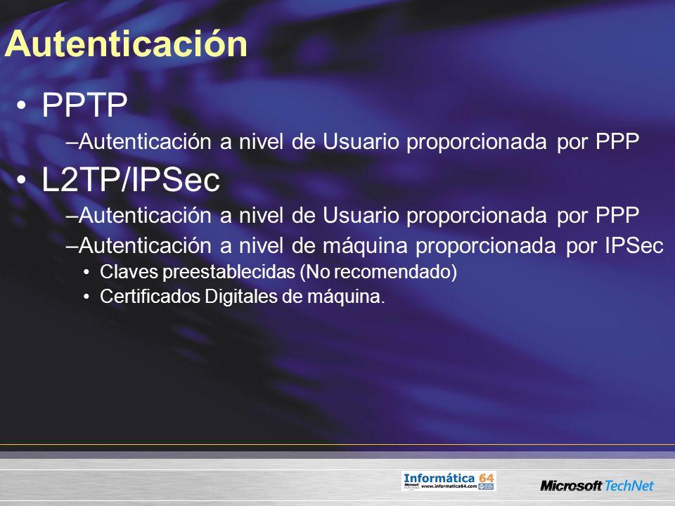 Autenticación PPTP L2TP/IPSec