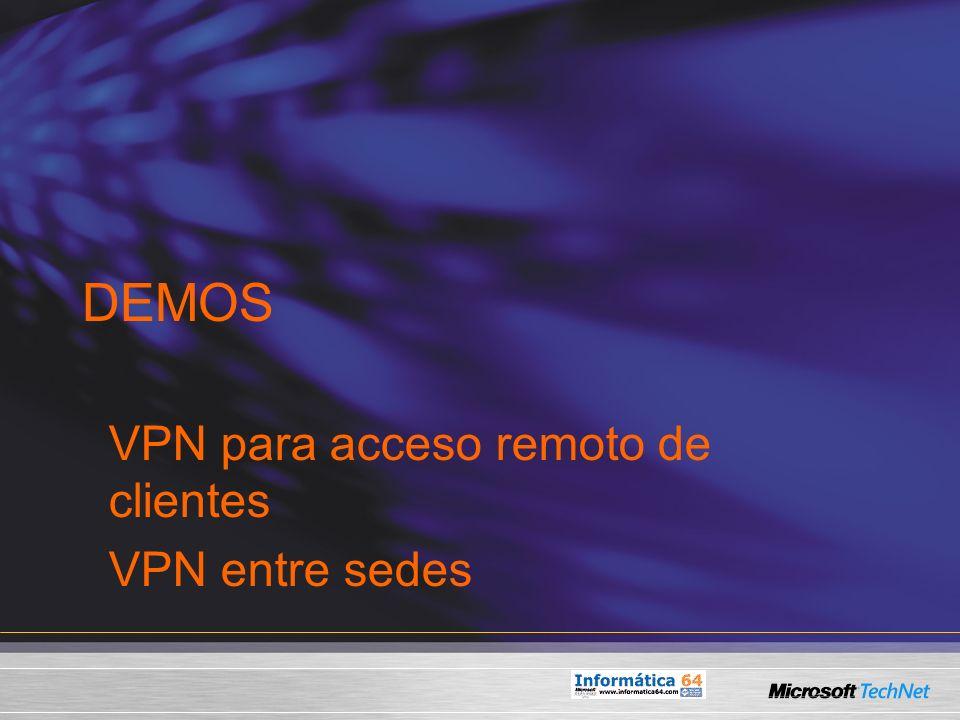 VPN para acceso remoto de clientes VPN entre sedes