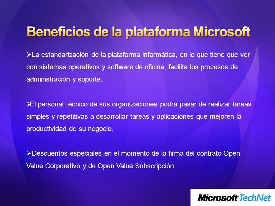 Beneficios de la plataforma Microsoft