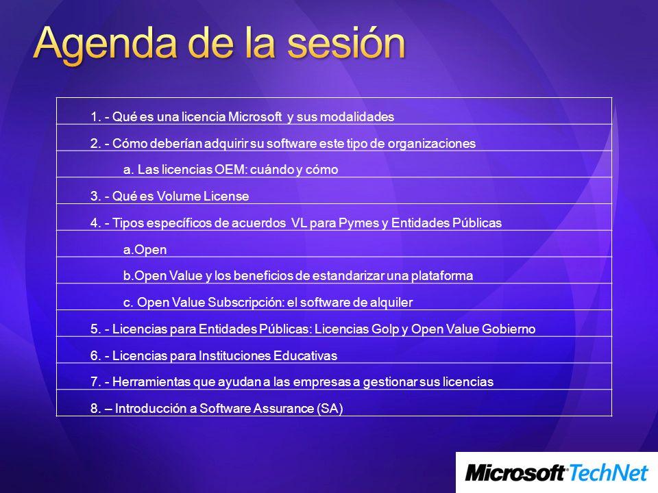 Agenda de la sesión 1. - Qué es una licencia Microsoft y sus modalidades. 2. - Cómo deberían adquirir su software este tipo de organizaciones.