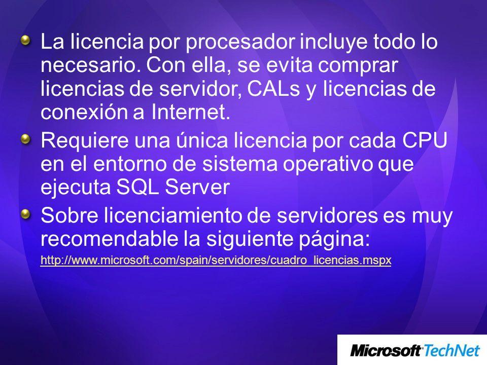 La licencia por procesador incluye todo lo necesario
