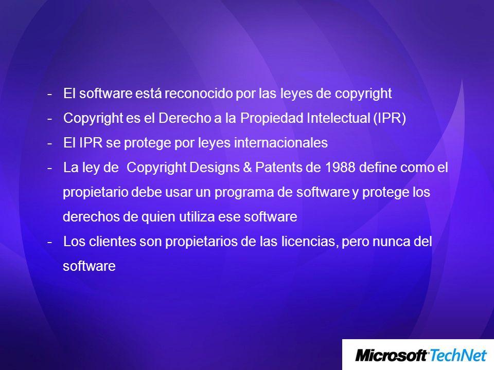 - El software está reconocido por las leyes de copyright