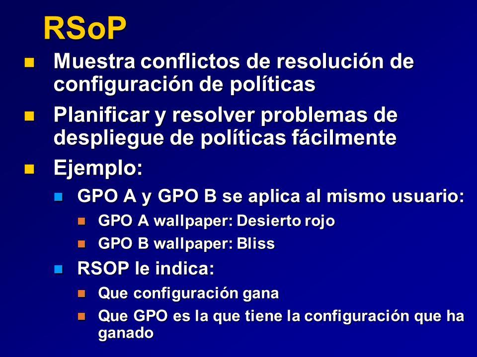 RSoP Muestra conflictos de resolución de configuración de políticas