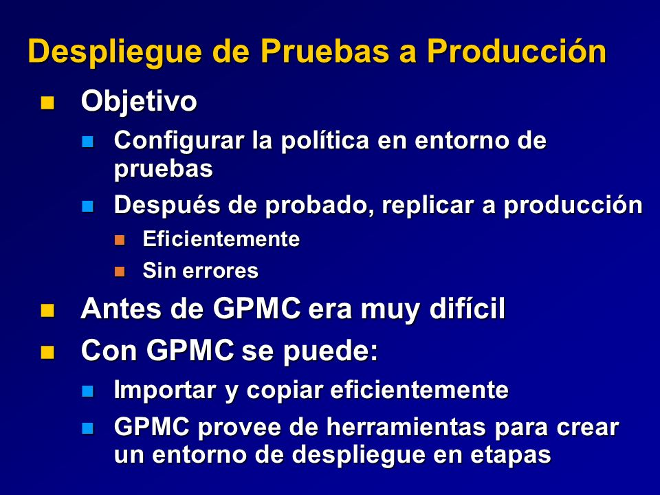 Despliegue de Pruebas a Producción