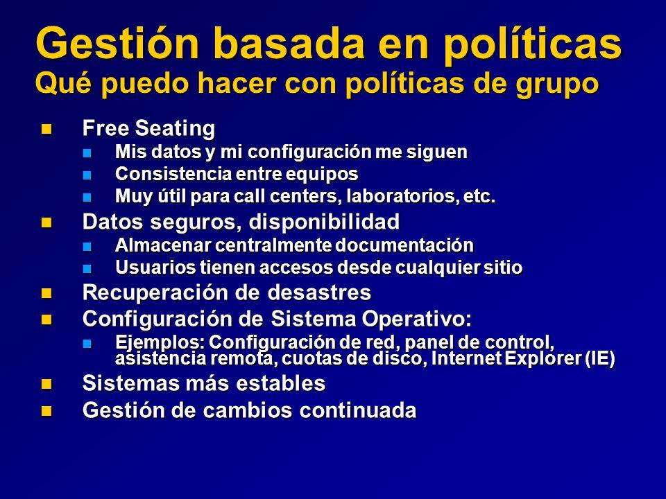 Gestión basada en políticas Qué puedo hacer con políticas de grupo