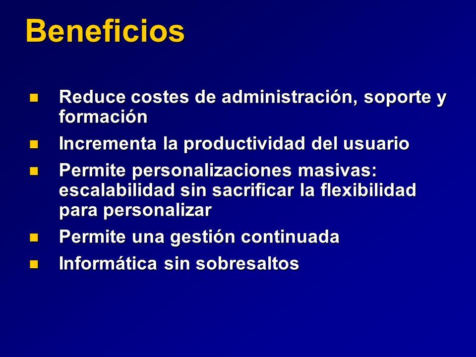 Beneficios Reduce costes de administración, soporte y formación