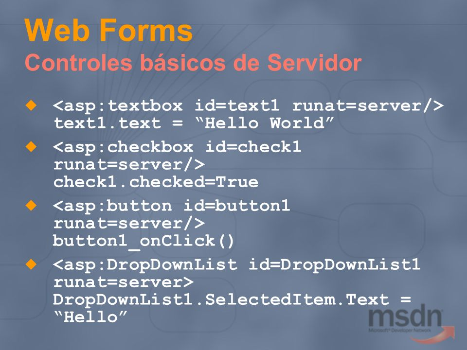 Web Forms Controles básicos de Servidor