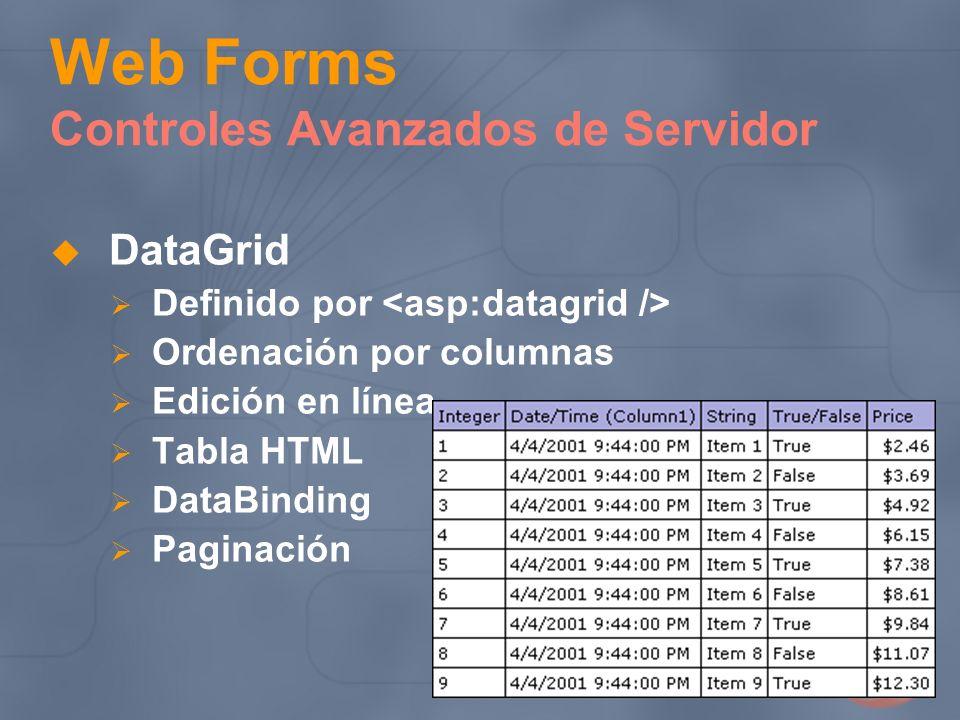 Web Forms Controles Avanzados de Servidor