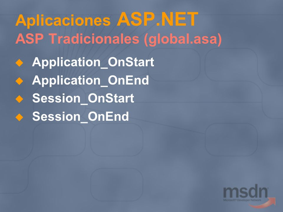 Aplicaciones ASP.NET ASP Tradicionales (global.asa)
