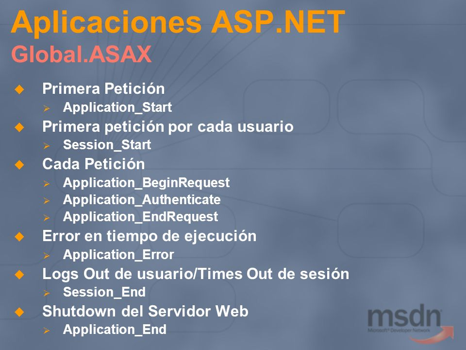 Aplicaciones ASP.NET Global.ASAX