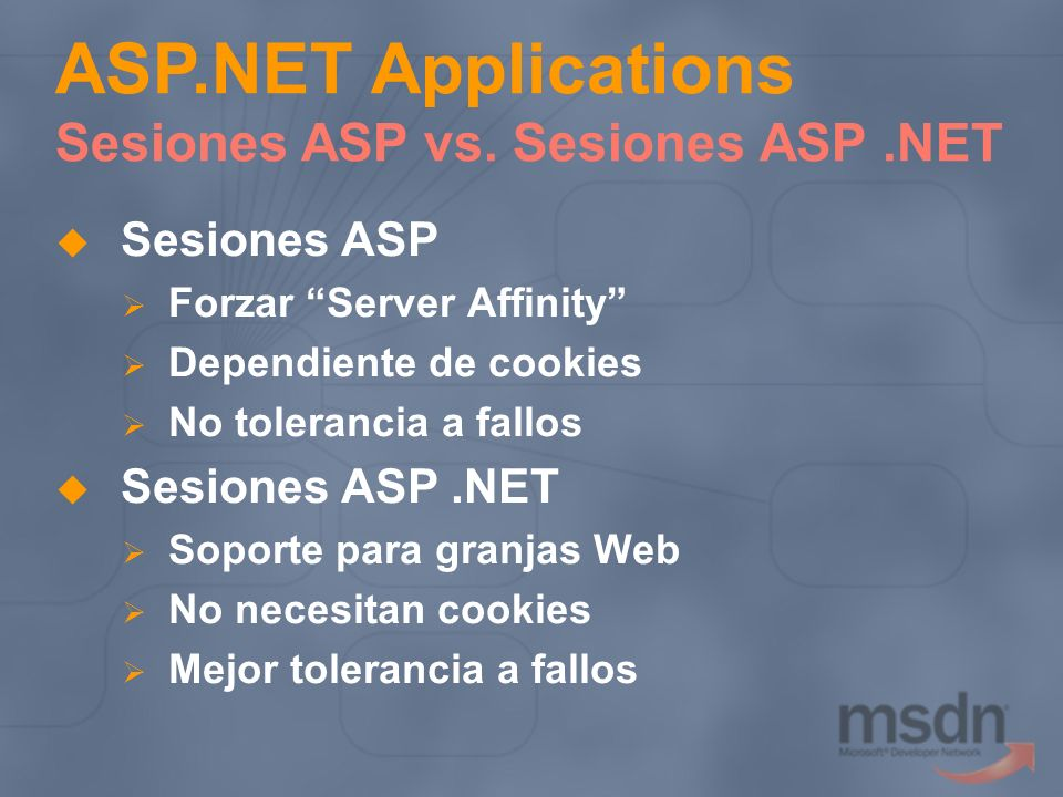 ASP.NET Applications Sesiones ASP vs. Sesiones ASP .NET