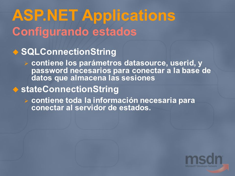 ASP.NET Applications Configurando estados
