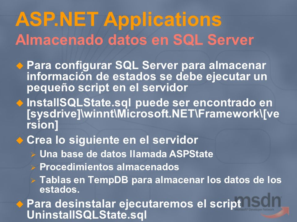 ASP.NET Applications Almacenado datos en SQL Server