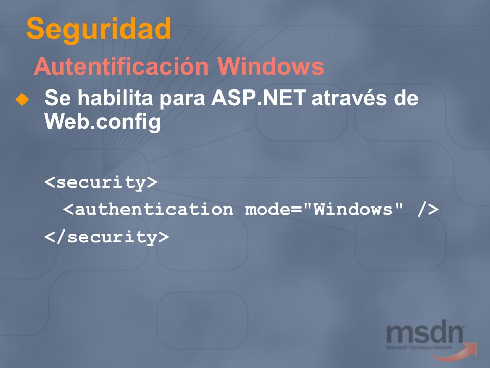 Seguridad Autentificación Windows